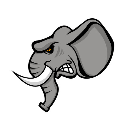 Elephant head isolated on white background. Sport team or club emblem template. Design element for , label, sign, badge. Vector illustration. Ilustrace