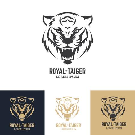 template with tiger head. Design element , label, sign, badge. Vector illustration.