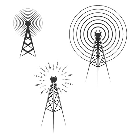 radio tower: Set of Radio tower icons. Design elements, label, emblem, sign. Vector illustration.
