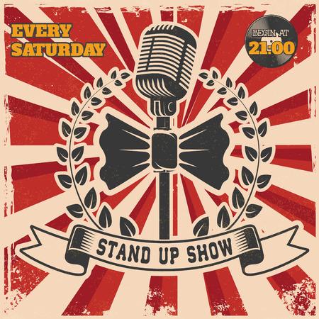 comedy: Retro stand up comedy show vintage poster template. Design element for poster, flyer, emblem, sign. Vector illustration. Illustration