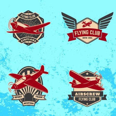Set of flying club labels and emblems on grunge background. Design elements , label, emblem, sign.