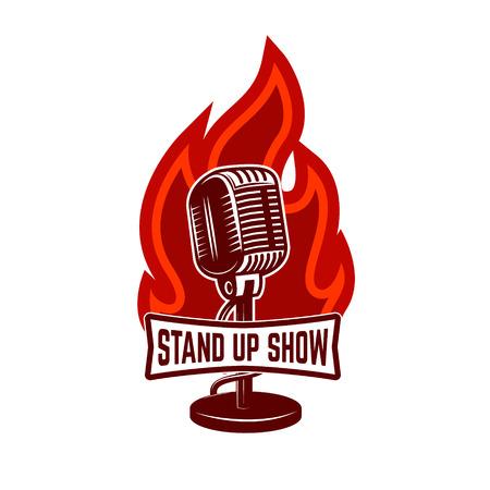 comedy: Stand up show emblem template. Design element for poster, flyer, emblem, sign. Vector illustration.