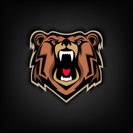 angry bear: head of Angry bear on dark background. Sport team or club emblem template. Design element, label, sign, badge. Vector illustration.