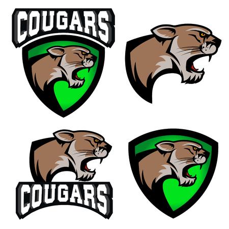 cougars: cougars.  sport team  template. Mascot. Design element , label, emblem, sign. Vector illustration.