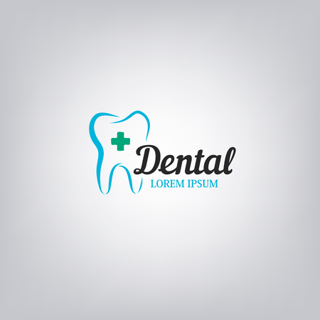 Dental clinic  template. Abstract Human tooth. Design element for label, badge, sign, emblem. Vector illustration.