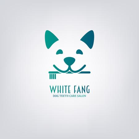 歯ブラシを持つ犬。動物の歯のケアのサロン。 記号、紋章、ラベル要素をデザインします。