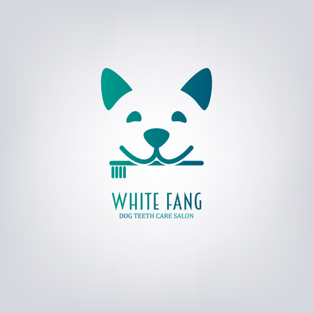 Dog with toothbrush. Animal teeth care salon.  Design element , label, emblem, sign. Ilustração