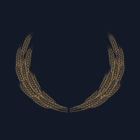 bran: Gold wheat wreath on blue background. Design element for label, badge, sign, emblem. Vector illustration. Illustration
