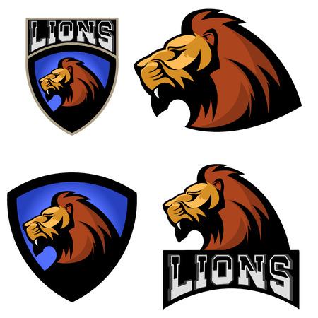 royal safari: Lions. Sport team or club  template. Vector design element, label, emblem, sign, badge.
