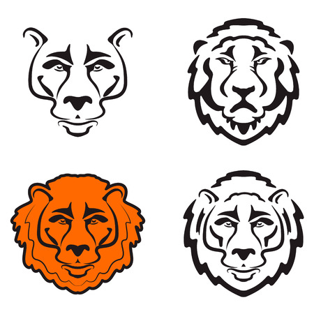 undomesticated: Lions head icons isolated on white background. Design element , label, sign, badge. Vector illustration.