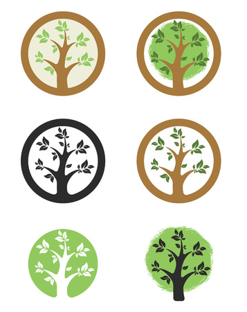 i label: template with tree i circle. Eco life style sign.  Design element , label, sign, badge. Vector illustration. Illustration