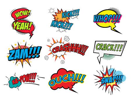 snap: Set of comic style phrases. Zam, Crash, Crack, Snap, Whop. Vector illustrations. Illustration