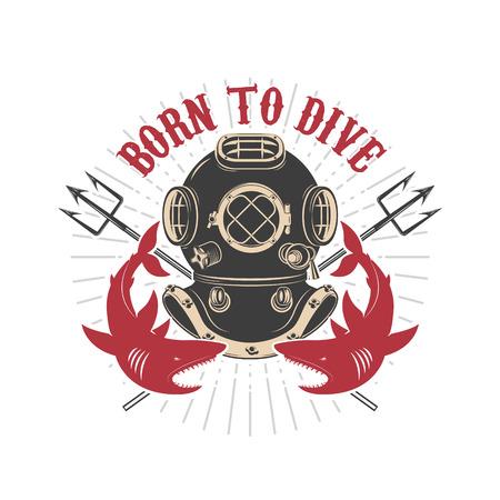 plunge: Vintage diver helmet with trident and sharks. Design elements for logo, label, emblem, sign. Illustration