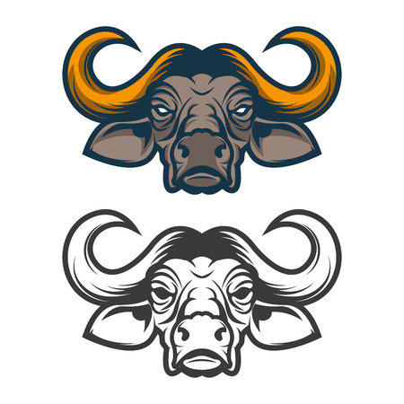 raging: Buffalo head. Sport team mascot. Design element, label, emblem, sign, badge. Vector illustration.