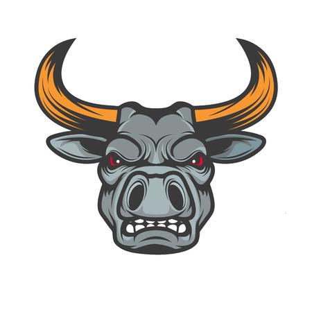 cow teeth: Bull head. Sport team mascot. Design element , label, emblem, sign, badge. Vector illustration.