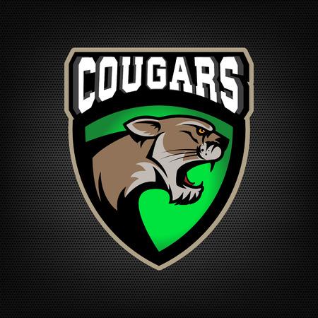 cougars: Cougars. sport team emblem. Design element , label, emblem, sign.  Vector illustration. Illustration