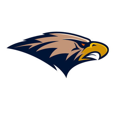 eagle: Eagle head. Sport team or club mascot.  Design element for logo, label, emblem, sign. Vector illustration.