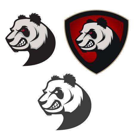 Emblem with panda. Sport team mascot. Design element , label, emblem, sign, badge. Vector illustration.