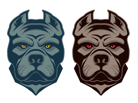 Pit bull mascot. Design element , label, emblem, sign, badge. Vector illustration. Çizim