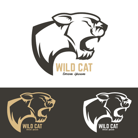 puma cat: puma head. Wild cat. Design element , label, emblem, sign, badge. Vector illustration.