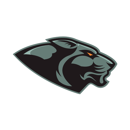 puma: Puma head. Sport team or club mascot. Design element, label, emblem, sign, badge. Vector illustration.