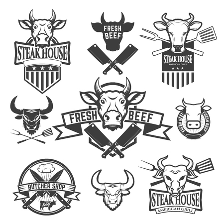 Set of labels with cow heads. Steak house, Fresh beef, butcher shop, grill. Design element , label, emblem, sign, badge. Vector illustration.