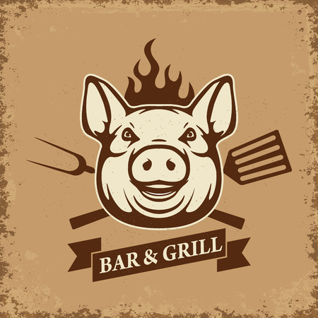 Bar and grill. Pig head with kitchen tools on grunge background. Design element for restaurant menu, poster. BBQ invitation card. Vector illustration.