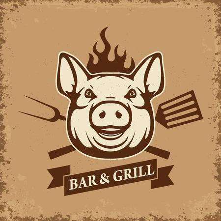 Bar y parrilla. cabeza de cerdo con herramientas de cocina en el fondo del grunge. Elemento de diseño para el menú del restaurante, cartel. tarjeta de invitación de la barbacoa. Ilustración del vector. Ilustración de vector