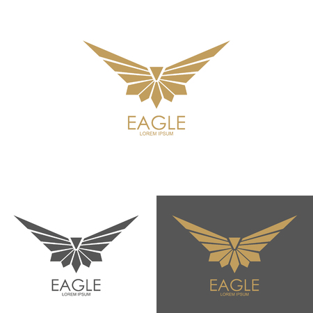 flying falcon: eagle mark isolated on white background. Design element for logo, label, emblem, sign