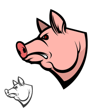 pig head. Design element for logo, label, emblem, sign, badge. Vector illustration.