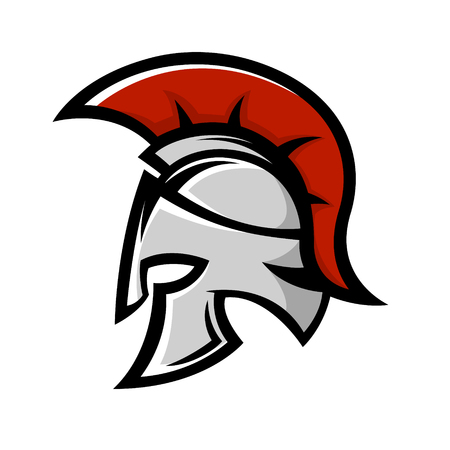 Spartan warrior helmet. Sports team emblem template. Design element for logo, label, emblem, sign. Vector illustration. Stock Illustratie