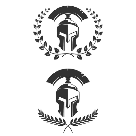 Set of the emblems templates with helmet. Spartan warrior helmets with laurel wreaths. Design elements for logo, label, emblem, sign. Vector illustration.