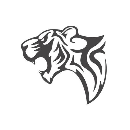 dingbat: tiger head tattoo template. Vector illustration.