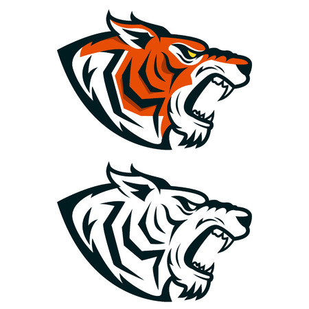 Tiger mascot. Head of angry tiger isolated on white background. Design element for logo, label, emblem, sign. Vector illustration. Çizim