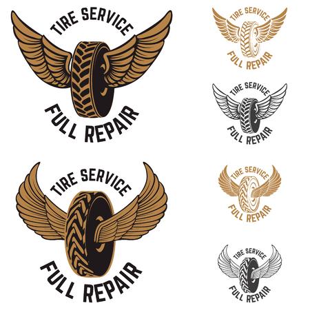 Tire service. Car repair. Winged wheels. Design elements for logo, label, emblem. Vector illustration. Illustration