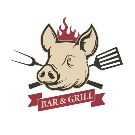 siembra: Bar y parrilla. cabeza de cerdo con las herramientas de la cocina aislados sobre fondo blanco. Elemento de diseño para el menú del restaurante, cartel. tarjeta de invitación de la barbacoa. Ilustración del vector.