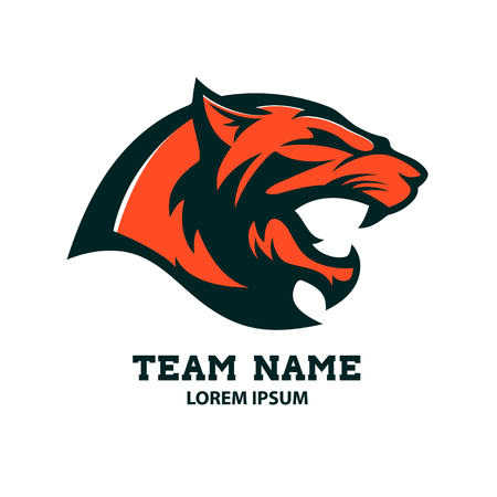 Puma head logo template. Design element for logo, label, emblem, sign, badge. Vector illustration.