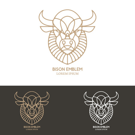 bison: Bison head in line style. Design element for logo, label, emblem, sign. Vector illustration.