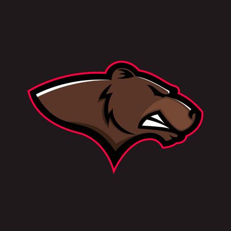 Brown bear head. Grizzly head. Design element for logo, label, emblem, sign, mark. Vector illustration.