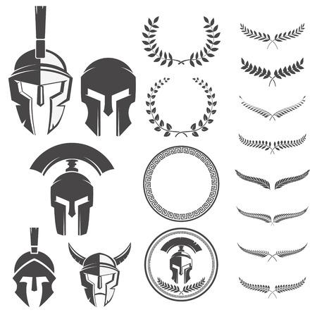 Set of the spartan warriors helmets and design elements for emblems create. Design elements for logo, label, emblem, sign. Vector illustration.
