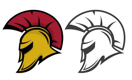 Spartan warrior helmet. Sports team emblem template. Design element for logo, label, emblem, sign. Vector illustration. 일러스트