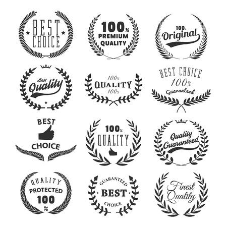 Set van kwaliteitsemblemen. Beste keuze. Ontwerpelement voor logo, etiket, embleem, teken, merk. Vector illustratie.