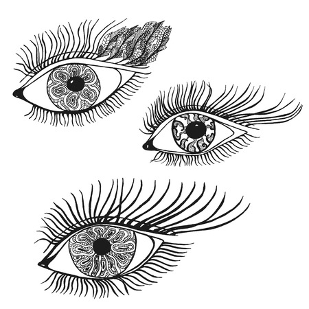 Set of the abstract hand drawn human eyes. Vector illustration in doodle style.