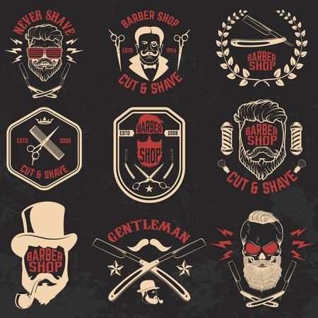 理髪店エンブレムのセットです。ロゴ、ラベル、紋章、記号、バッジ、ブランド マークのデザイン要素です。ベクトルの図。