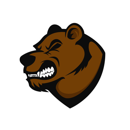 kodiak: Bear head mascot. Design element for logo, label, emblem, sign, brand mark. Vector illustration. Illustration
