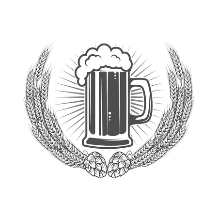 Beer label template. Beer mug in wreath from wheat with hop. Design element for logo, label, emblem, sign, brand mark. Vector illustration.