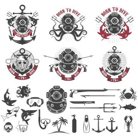 Born to dive. Set of vintage diver helmets, diver label templates and design elements. Design elements for logo, label, emblem, sign, badge, brand mark. Vector illustration.