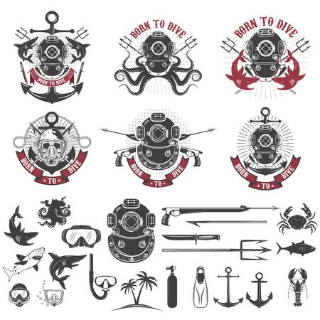 Born to dive. Set of vintage diver helmets, diver label templates and design elements.  Design elements for logo, label, emblem, sign, badge, brand mark. Vector illustration. Vettoriali