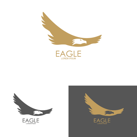eagle: Logo template with eagle silhouette. Design element for label, emblem, brand mark, sign. Vector illustration. Illustration