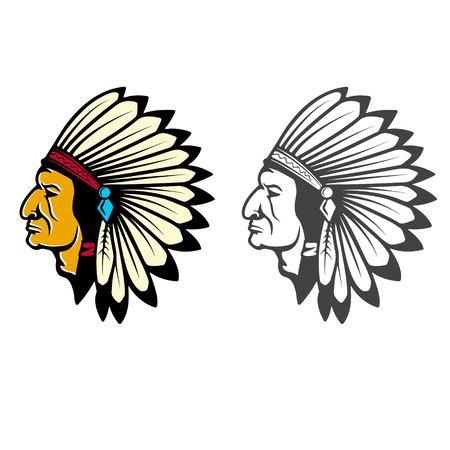 Indian Head Concept. Design element for logo, label, emblem, sign, brand mark, poster, t-shirt print. Vector illustration.